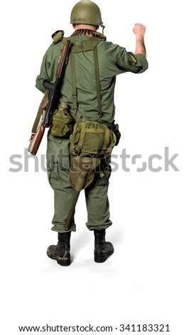 Caucasian man in uniform knocking - Isolated