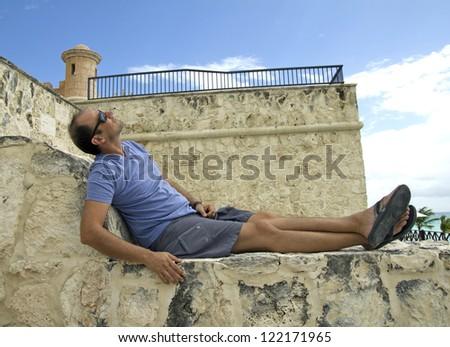 caucasian man in vacation - stock photo