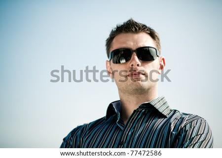 caucasian man outside - stock photo