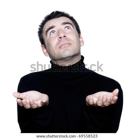 caucasian man portrait ponder praying looking up portrait on studio isolated white background - stock photo