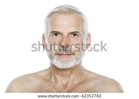 caucasian man portrait serious blank expression isolated studio on white background - stock photo