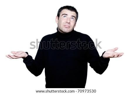 caucasian man portrait shrugging hesitant pucker pouting portrait on studio isolated white background - stock photo