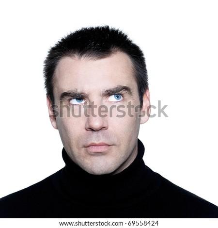 caucasian man portrait  thinking pensive doubt mistrust distrust looking up portrait on studio isolated white background - stock photo