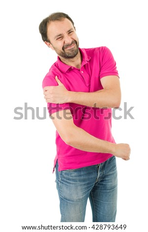 caucasian man portrait with arm pain on studio isolated white background - stock photo