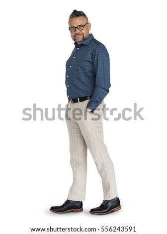 Caucasian Man Posing Cheerful