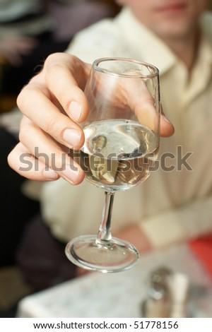 Caucasian Man Propose Toast Glass White Stock Photo 51778156