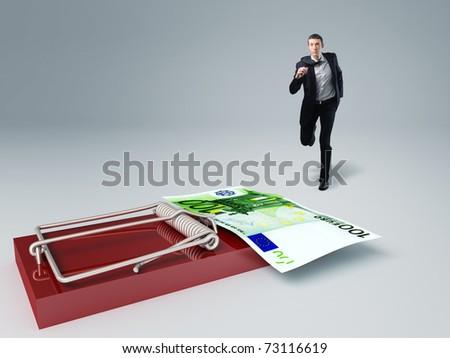 caucasian man running towards muase trap with money - stock photo