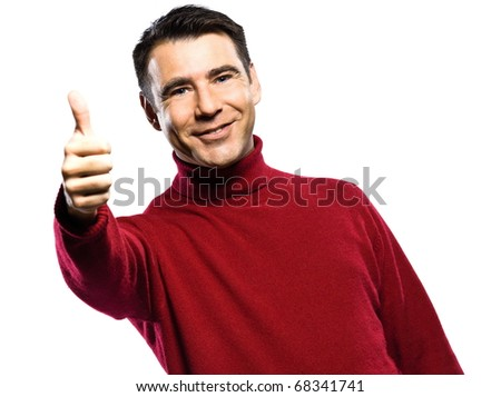 caucasian man  thumb up  gesture studio portrait on isolated white background - stock photo