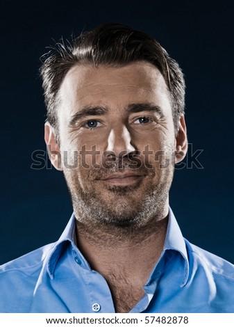 caucasian man unshaven smiling cheerful portrait isolated studio on black background - stock photo