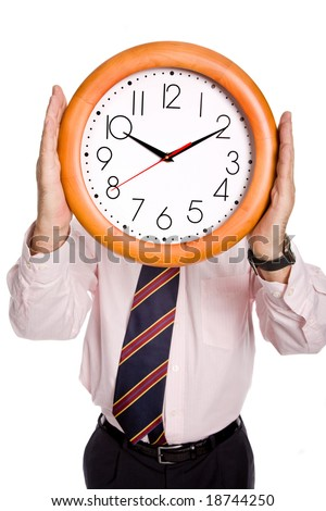 Caucasian man wearing suit holding clock in the head
