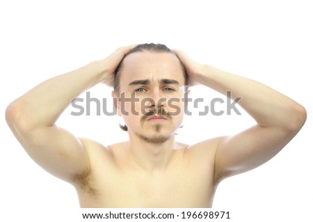 Caucasian man  with arms behind his head isolated - stock photo
