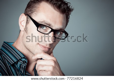 caucasian man with glasses - stock photo