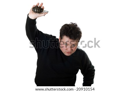 Caucasian man with hand grenade isolated on white.
