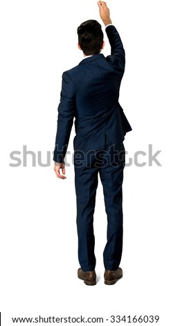 Caucasian man with short dark brown hair in business formal outfit screwing - Isolated