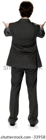 Caucasian man with short dark brown hair in business formal outfit with hands open - Isolated