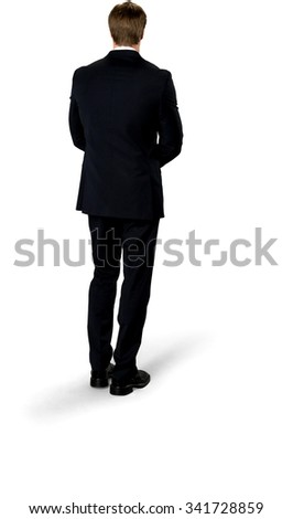 Caucasian man with short medium blond hair in business formal outfit with clasped hands - Isolated