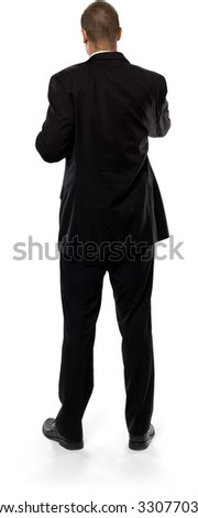 Caucasian man with short medium brown hair in business formal outfit with arms folded - Isolated
