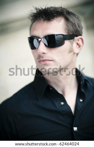 caucasian man with sun glasses - stock photo