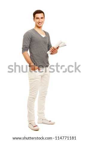 Caucasian man writing notes and smiling at the camera isolated on white background - stock photo