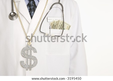 Caucasian mid adult male physician with dollar sign necklace and cash hanging out of pocket. - stock photo