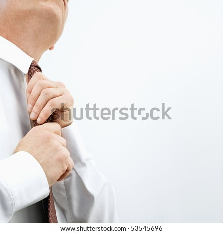 Caucasian middle aged businessman fixing necktie. - stock photo