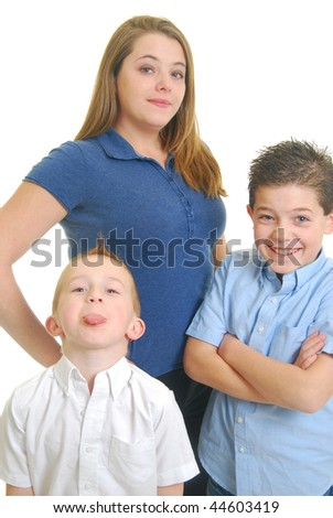 Caucasian mother with children isolated on white. - stock photo