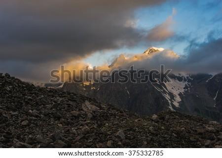 Caucasian mountains on sunset time. - stock photo