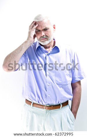 caucasian senior man portrait headache isolated studio on white background - stock photo