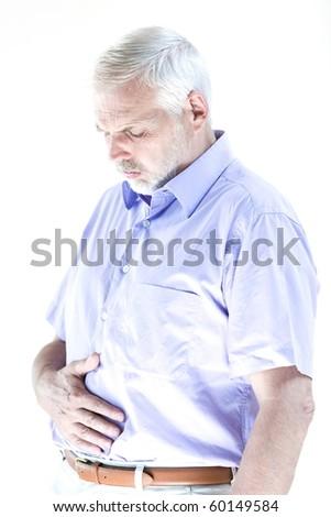 caucasian senior man portrait suffer stomachache isolated studio on white background - stock photo