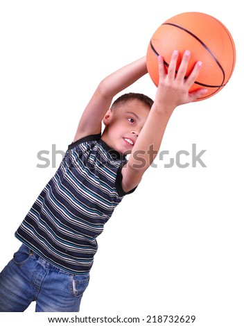 Caucasian smiling boy, basketball player makes a throw with a ball in his hand isolated on white background.  - stock photo
