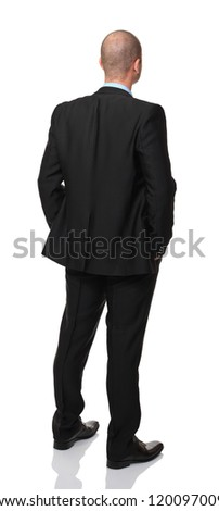 caucasian standing businessman isolated on white