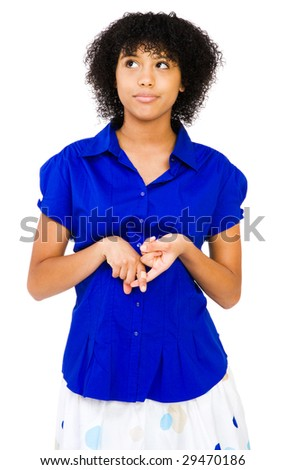 Caucasian teenage girl day dreaming and smiling isolated over white - stock photo