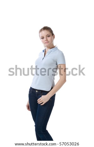 Caucasian teenaged female student wearing uniform like outfit - stock photo