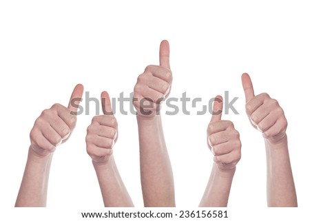 Caucasian white group of people making hand Thumbs up sign isolated on white background. Like, approval or endorsement concept. - stock photo