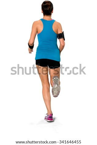 Caucasian woman black in athletic costume playing sports - Isolated - stock photo