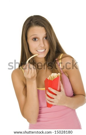 Caucasian woman eating junk food on a white background
