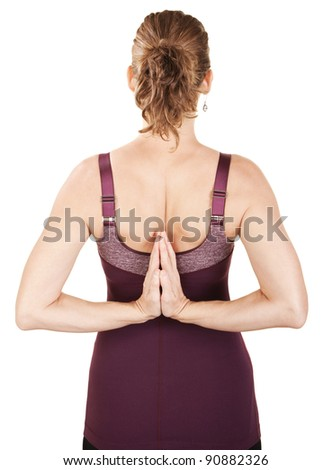Caucasian woman in backward namaskar or salutation pose - stock photo