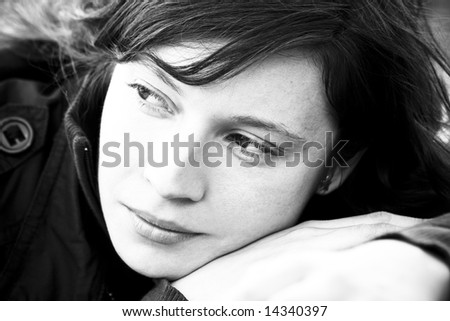 Caucasian woman in pensive expression - stock photo