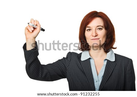 caucasian woman in write position isolated on white