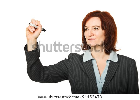 caucasian woman in writing action pose