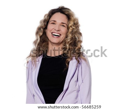 caucasian woman laughing happy portrait isolated studio on white background - stock photo