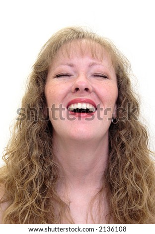 Caucasian woman laughing. Isolated on white - stock photo