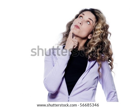 caucasian woman looking up thinking portrait isolated studio on white background