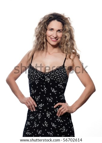 caucasian woman portrait isolated studio on white background - stock photo