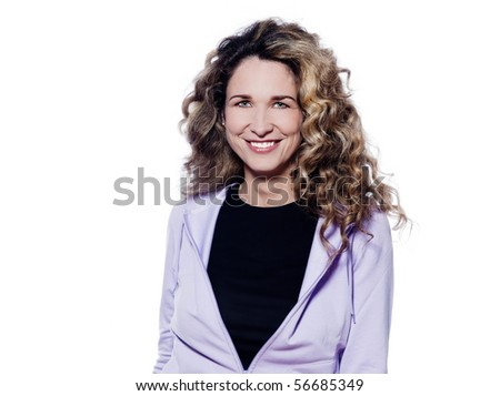 caucasian woman smile cheerful portrait isolated studio on white background