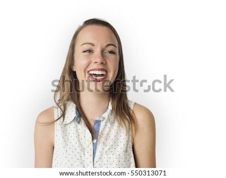 Caucasian Woman Smiling Happy Cheerful