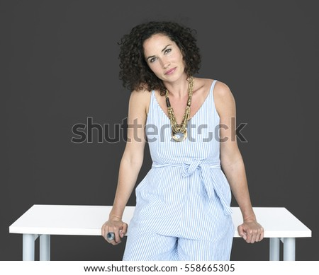 Caucasian Woman Smiling Table
