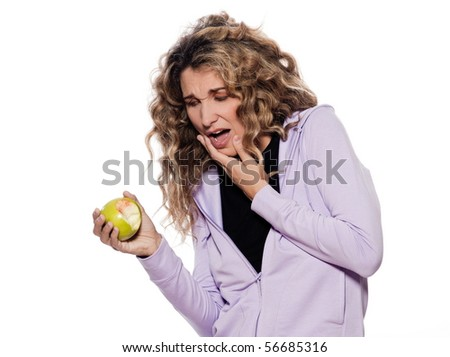 caucasian woman teeth pain portrait isolated studio on white background - stock photo