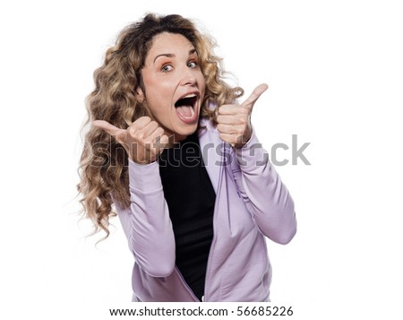 caucasian woman thumb up portrait isolated studio on white background - stock photo
