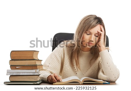 Caucasian woman tired because of studying